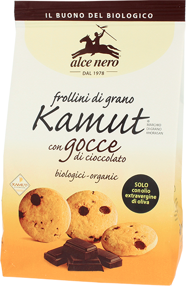 Alce Nero- Organic Frollini of Kamut Grain with Chocolate Chips  (300 gr)